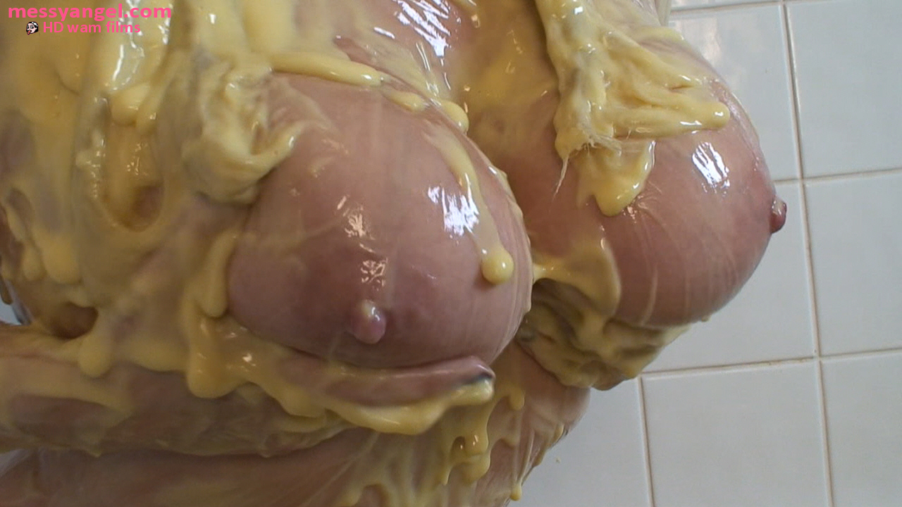 Bikini covered in custard the fat